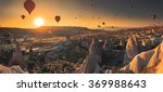 hot air balloon flying over... | Shutterstock . vector #369988643