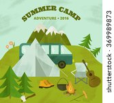 vector camping template  layout ... | Shutterstock .eps vector #369989873