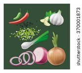 spices set  onion  red onion ... | Shutterstock .eps vector #370001873