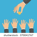 hand holding golden coin while... | Shutterstock .eps vector #370041767