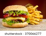 big cheeseburger with french... | Shutterstock . vector #370066277