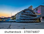 Wound Boat Rope On Mooring...