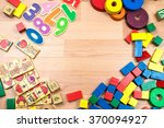 wooden toys background. | Shutterstock . vector #370094927