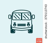 mini bus icon logo line flat...