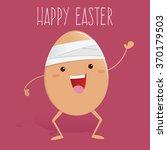 broken egg with bandage waving... | Shutterstock .eps vector #370179503