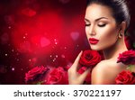 Beauty Romantic Woman With Red...