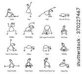 hand drawing line cartoon yoga... | Shutterstock .eps vector #370227467