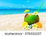 Coconut Cocktail On Caribbean...