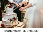 bride and groom cut rustic... | Shutterstock . vector #370288637