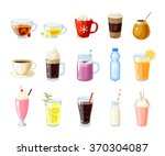 Set of cartoon food: non-alcoholic beverages - tea, herbal tea, hot chocolate, latte, mate, coffee, root beer, smoothie, juice, milk shake, lemonade and so. Vector illustration, isolated on white. | Shutterstock vector #370304087