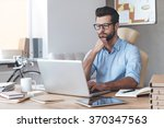 busy working. pensive young... | Shutterstock . vector #370347563