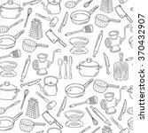 vector hand drawn kitchen tools ... | Shutterstock .eps vector #370432907
