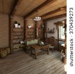 country style kitchen interior  ... | Shutterstock . vector #370439273