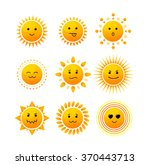 Sun Smiling Icon Set Isolated...