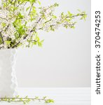 spring white flowers on white... | Shutterstock . vector #370474253