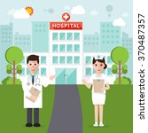 doctors and nurse and hospital... | Shutterstock .eps vector #370487357