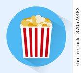 bucket of popcorn round icon.... | Shutterstock . vector #370526483