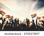Gay Rainbow Flag Crowd...