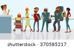 passengers in queue waiting... | Shutterstock .eps vector #370585217