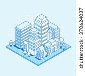 vector city landscape isometric ... | Shutterstock .eps vector #370624037