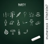 group of hand drawn party icons ... | Shutterstock .eps vector #370651067