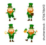 set of four funny leprechauns... | Shutterstock .eps vector #370678643