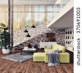 loft   interior design   3d... | Shutterstock . vector #370691003
