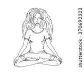 meditating hand drawn girl on a ... | Shutterstock .eps vector #370692323