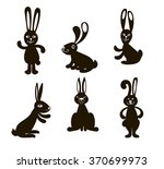 vector doodle black six rabbits ... | Shutterstock .eps vector #370699973