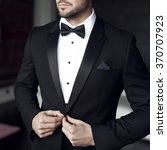 sexy man in tuxedo and bow tie... | Shutterstock . vector #370707923