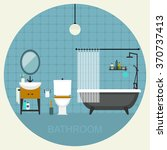 Bathroom Interior. Vector Flat...