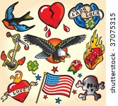 Set Of Retro Tattoo's