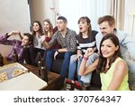 Group Of Friends Watching Tv...