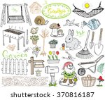 garden set doodles elements.... | Shutterstock .eps vector #370816187