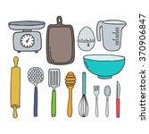 doodle icons. kitchen... | Shutterstock .eps vector #370906847