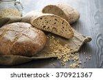two organic sour dough loafs...   Shutterstock . vector #370921367