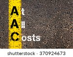 Small photo of Concept image of Business Acronym AAC At All Costs written over road marking yellow paint line.