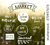 100  natural  eat local...   Shutterstock .eps vector #370957673