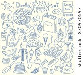 hand drawn doodle food set.... | Shutterstock .eps vector #370970597
