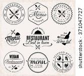black restaurant menu badges... | Shutterstock .eps vector #371047727