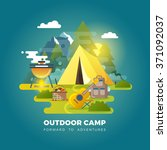 camping background with tourist ... | Shutterstock .eps vector #371092037