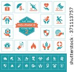 set insurance icons set for web ... | Shutterstock .eps vector #371113757