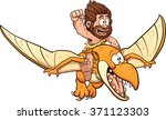cartoon caveman riding a... | Shutterstock .eps vector #371123303