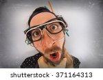 bearded crazy person lunatic... | Shutterstock . vector #371164313