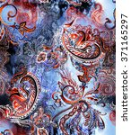 Watercolor Paisley On Abstract...