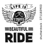 vector biker quote with... | Shutterstock .eps vector #371183903