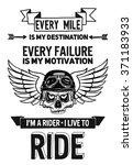 vector biker quote with... | Shutterstock .eps vector #371183933