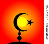 symbol of islam on sunset... | Shutterstock .eps vector #371194733
