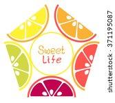 vector set of lemon  orange ...   Shutterstock .eps vector #371195087