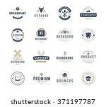 vintage logos design templates... | Shutterstock .eps vector #371197787